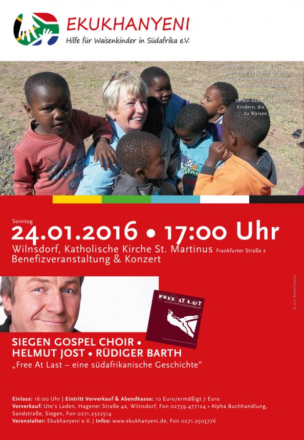 Plakat zum Benefizkonzert Siegen Gospel Choir zu Gunsten von Ekukhanyeni