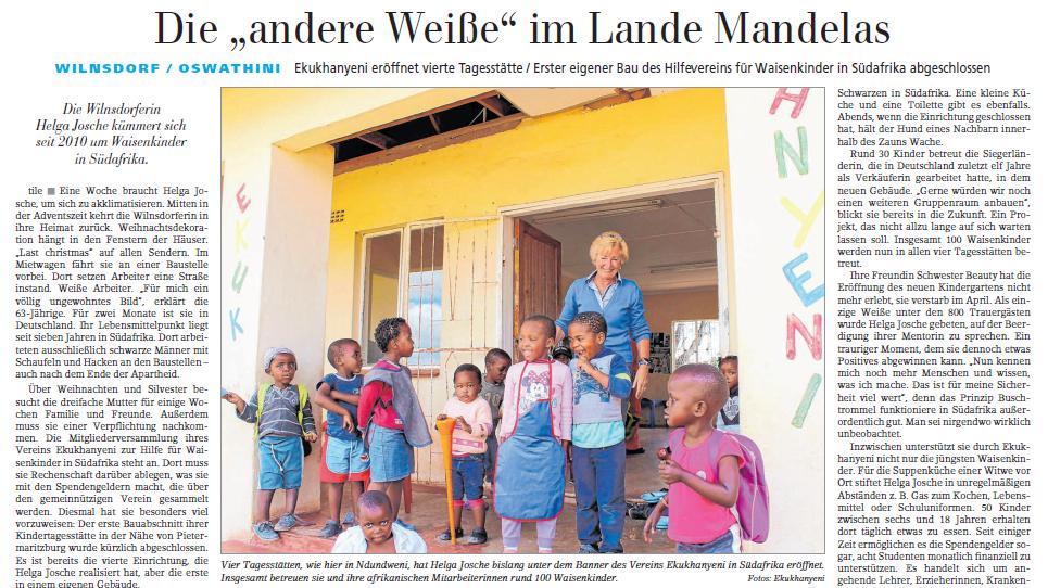 Siegener Zeitung berichtet über Helga Josches Arbeit in Südafrika